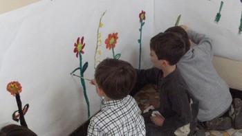 Peinture libre autour des fleurs
