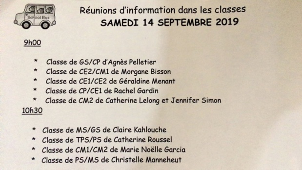 Réunions de classes