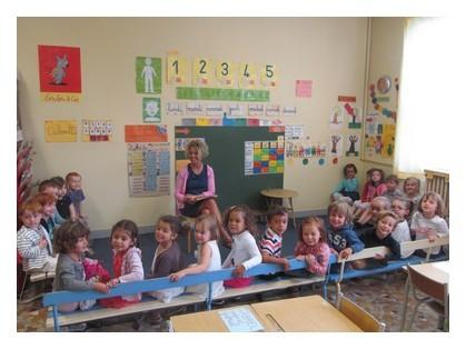 Bonjour nous sommes la classe de Petite et Moyenne Section , notre maîtresse s'appelle Sylvie Doughty-Gougeon et notre aide maternelle c'est Jorisse.